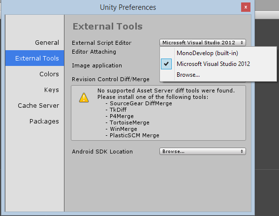 Configuring Unity to use Visual Studio 2012/2013 by Michael H C